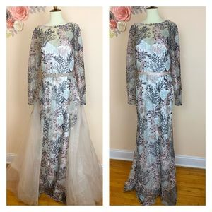 COLORS COUTURE Trailing Floral Embroidered Gown
